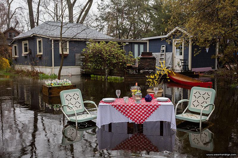 Flooded patio set, Ward's Island, Toronto Islands