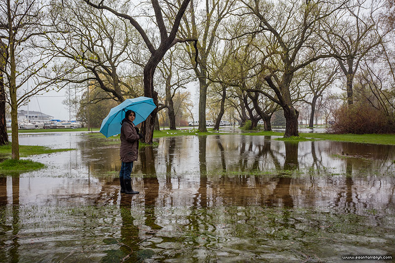 Walking through the flood, Ward's Island, Toronto Islands