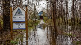 Flooded pathway to the AIA, Algonquin Island, Toronto Islands