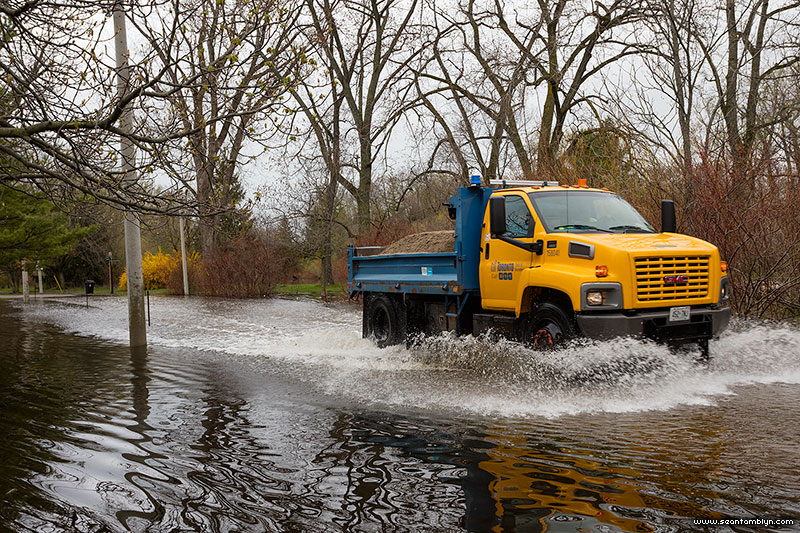 Trucking running flooded road, Snake Island, Toronto Islands