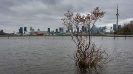 Water floods the perimeter fence, Toronto City Center Airport, Toronto Islands