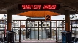 Ferry cancellation sign, Jack Layton Ferry Terminal, Toronto Islands