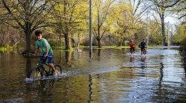 Biking through the flood along Cibola Ave, Toronto Islands