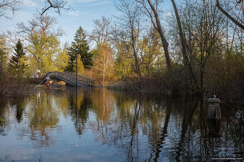 Flooded Snake Island and bridge, Snake Island, Toronto Islands
