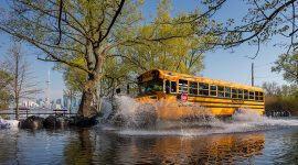 School bus running floodwaters, Center Island, Toronto Islands