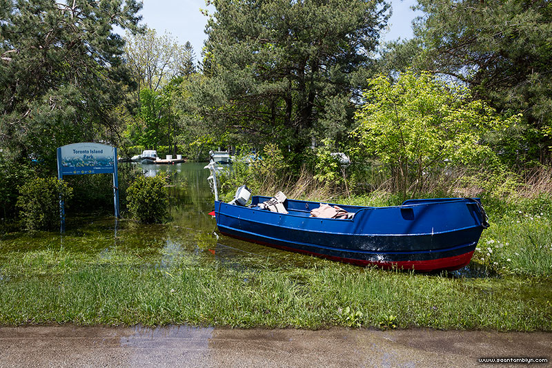 Boat mooring at side of road during flood of 2017, Algonquin Island, Toronto Islands