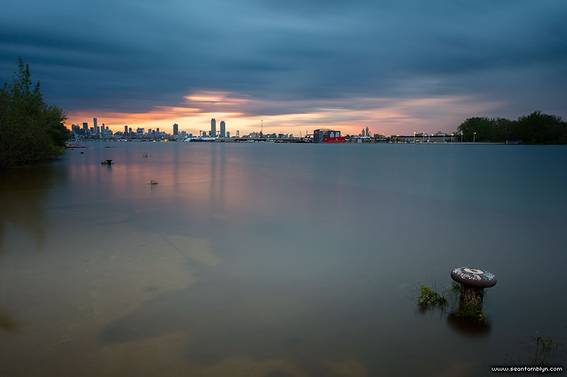 Flooded eastern gap at sunset, Flood of 2017, Ward's Island, Toronto Islands
