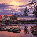 Pumping operations on Seneca Ave at sunset, Toronto Island Flood, Algonquin Island, Toronto Islands