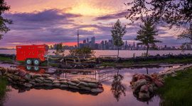 Pumping operations on Seneca Ave at sunset, Toronto Island Flood, Algonquin Island, Toronto Islands
