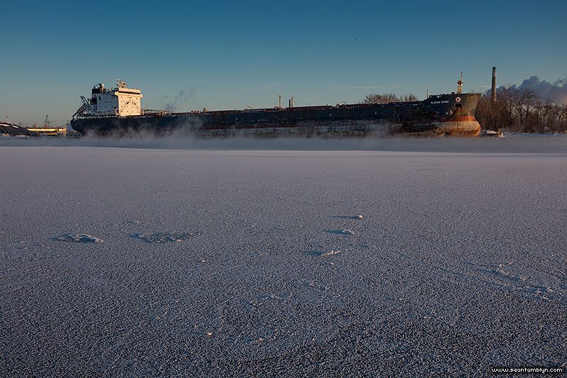 Frost flowers cover the ice in front of the Algoma Spirit, Eastern Gap, Ward's Island, Toronto Islands