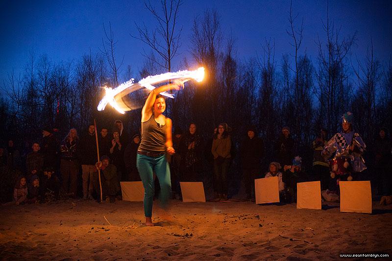 Fire hooping in front of the fire, Equinox Bonfire 2018, Ward's Island, Toronto Islands
