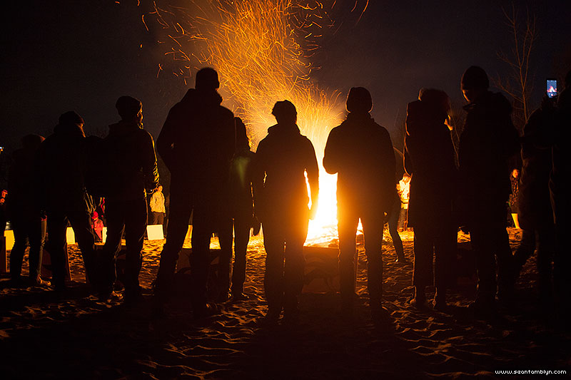 Crowd in front of the fire, Equinox Bonfire 2018, Ward's Island, Toronto Islands
