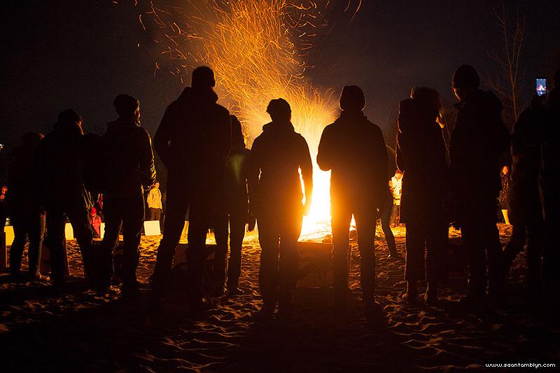 Crowd in front of the fire, Equinox Bonfire 2018, Ward's Island, Toronto Islands