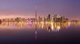 Toronto sunset skyline panorama, Center Island, Toronto Islands