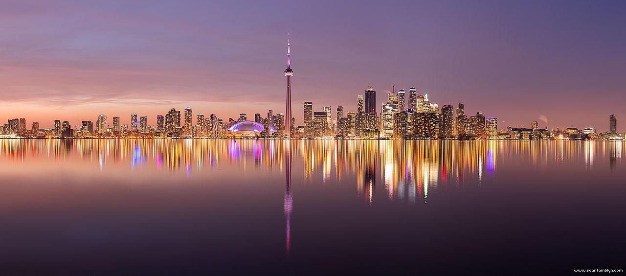 Toronto sunset skyline panorama, Center Island, Toronto Islands