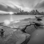 Toronto skyline long exposure over eastern gap, Ward's Island, Toronto Islands