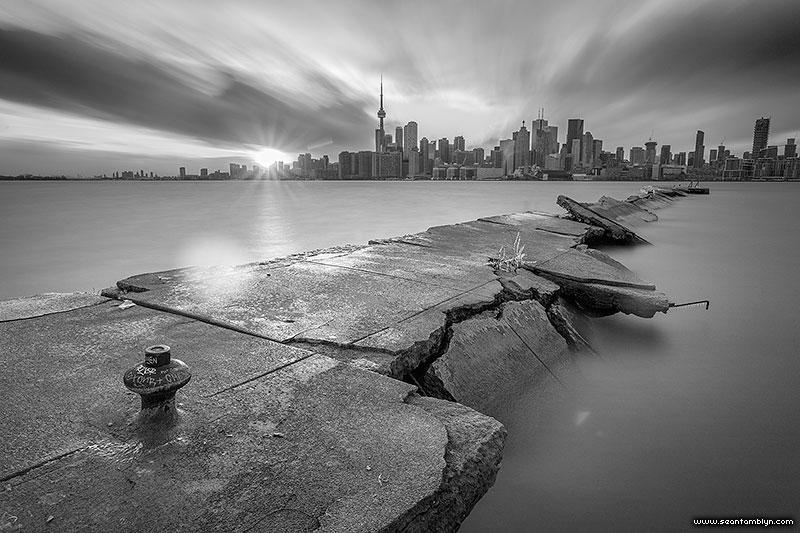 Toronto skyline long exposure over eastern gap, Ward's Island, Toronto Islands