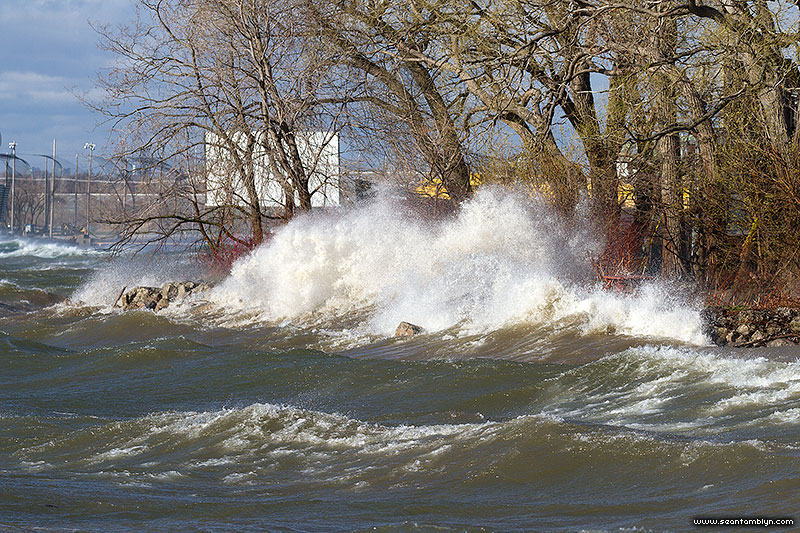 Waves wash over the breakwater in front of Bayview, Ward's Island, Toronto Islands