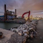 Deconstruction of the breakwall, eastern gap, Ward's Island, Toronto Islands