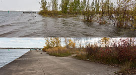 Eastern gap 2017 flood before and after, Ward's Island, Toronto Islands