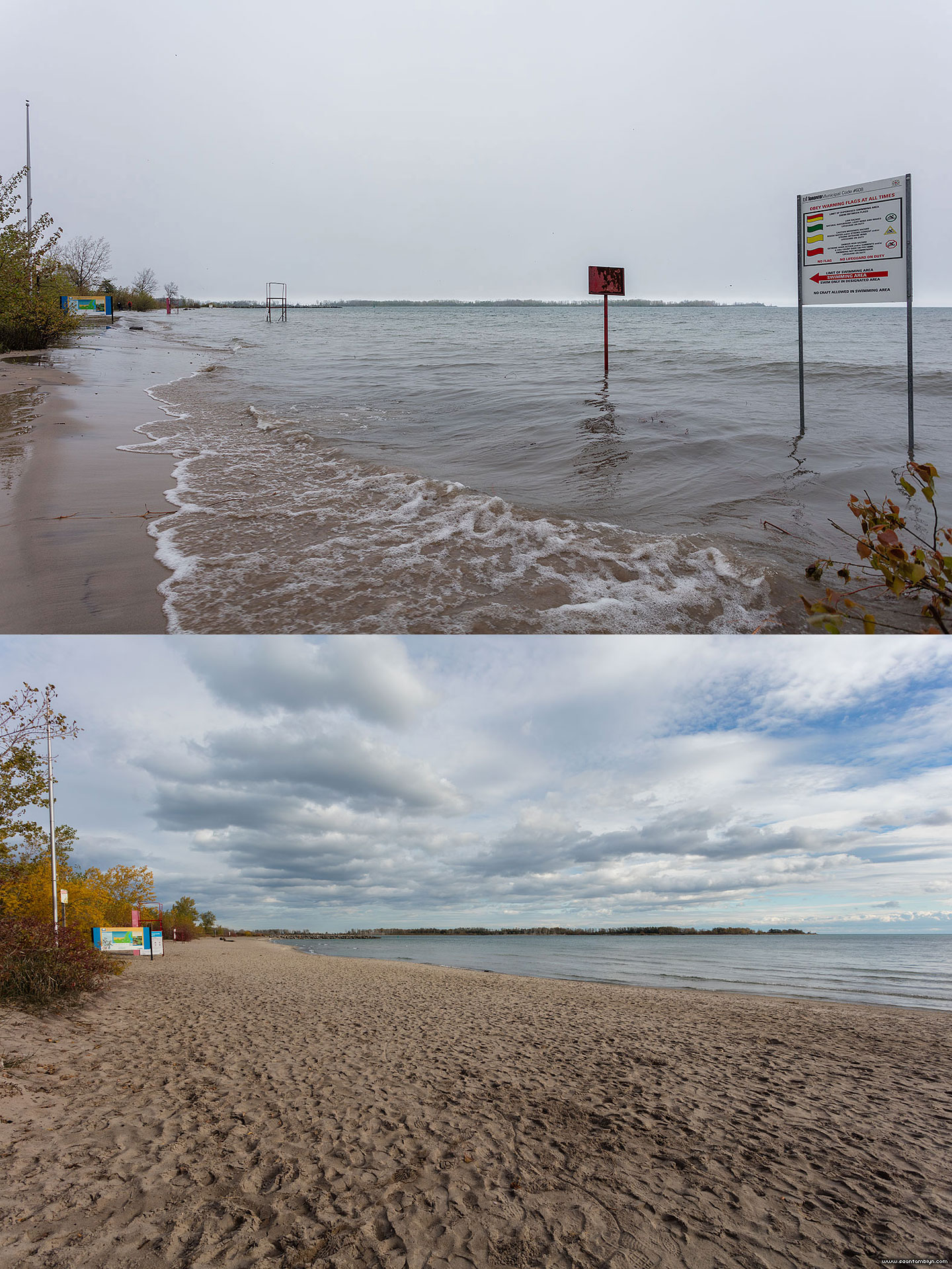 Ward's beach during and after the Flood of 2017, Ward's Island, Toronto Islands