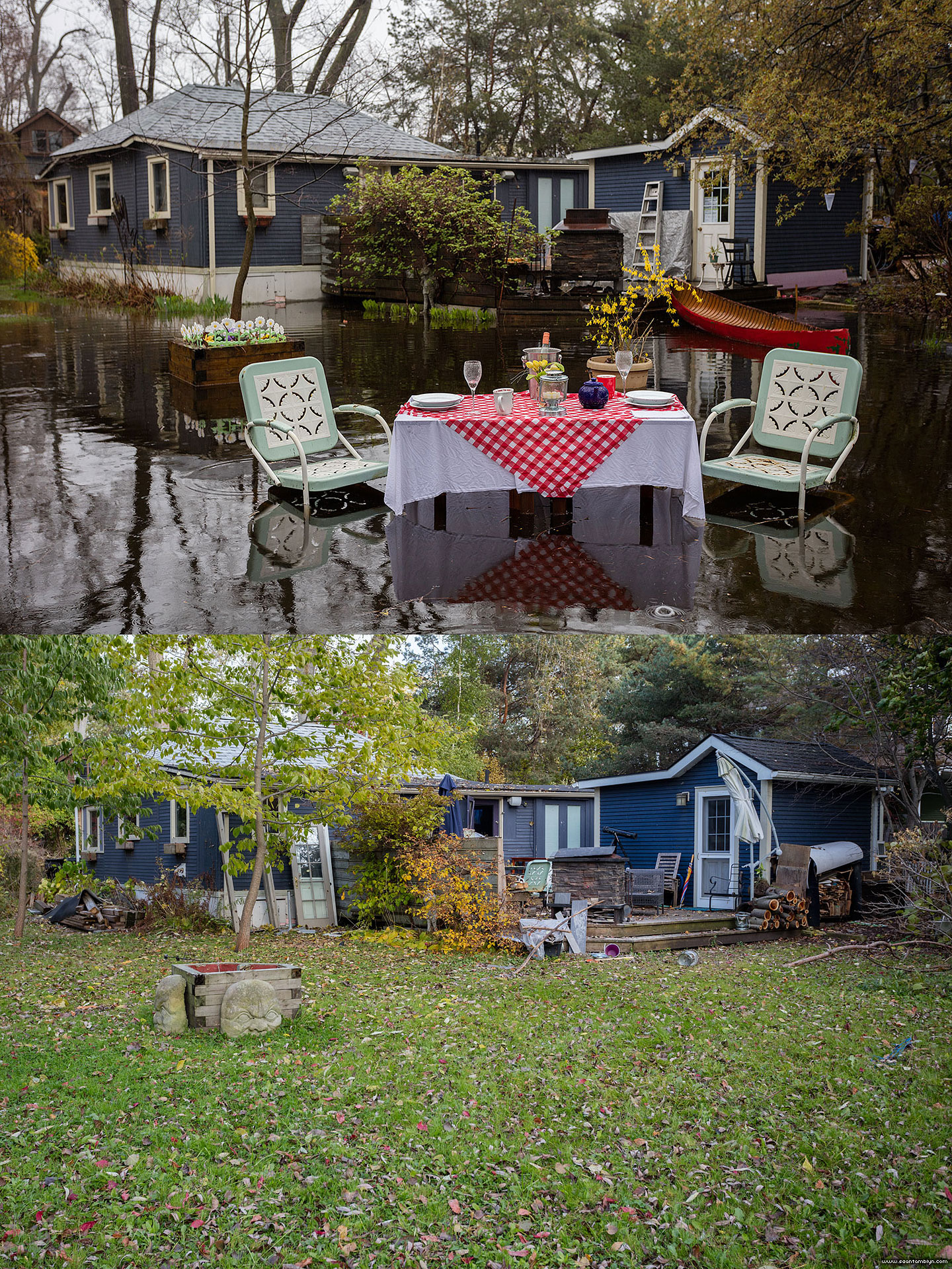Table set for two during and after the Flood of 2017, Ward's Island, Toronto Islands