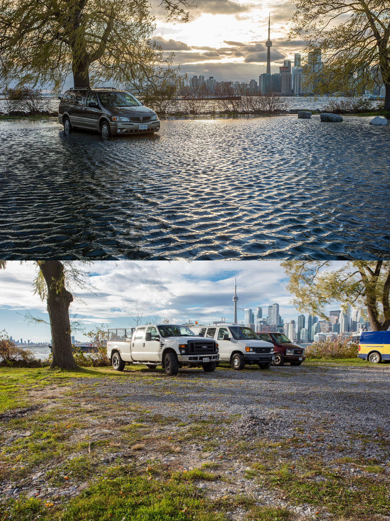 Parking lot before and after Flood of 2017, Ward's Island, Toronto Islands