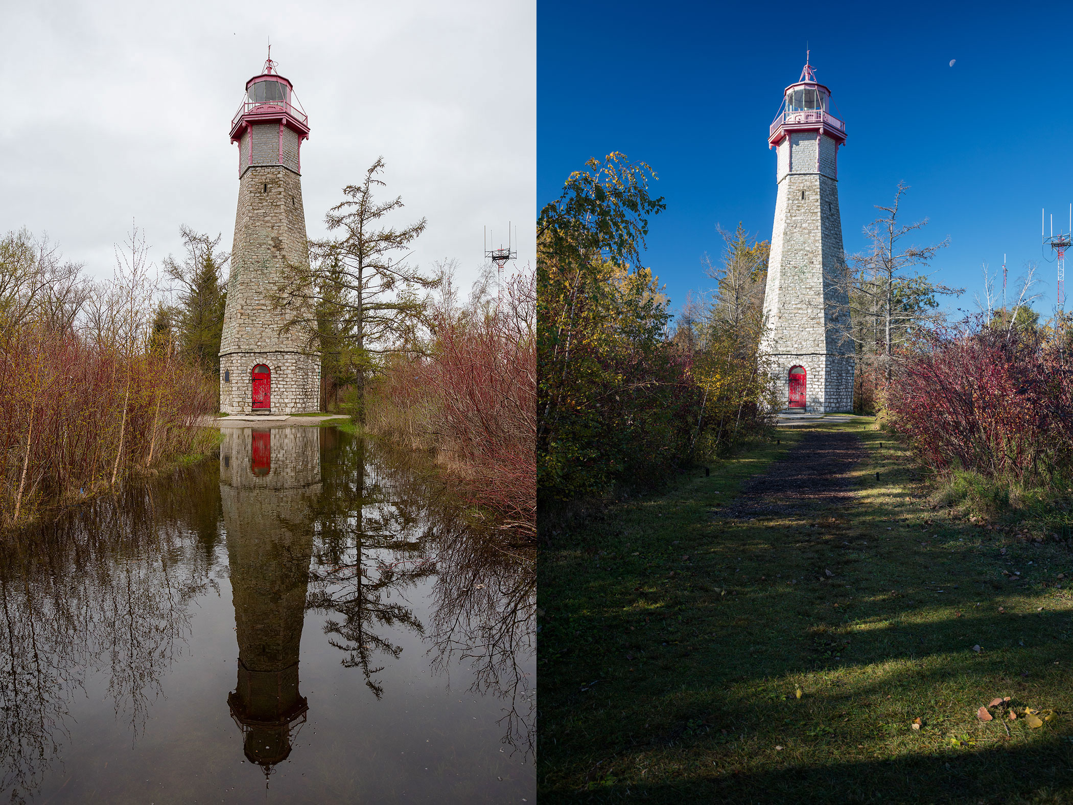 Gibraltar Point lighthouse during and after the Flood of 2017, Hanlan's Point, Toronto Islands