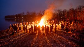 Massive bonfire, Spring Equinox 2019, Ward's Island, Toronto Islands