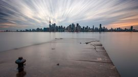 Flooded breakwater, Toronto skyline long exposure, Eastern Gap, Ward's Island, Toronto Islands