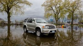 Car in floodwaters, Ward's Island, Toronto Islands