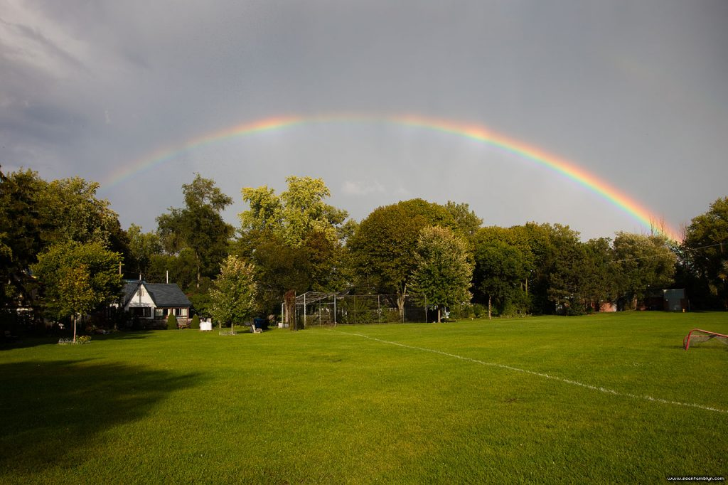 Full rainbow over Fifth St., Ward's Island, Toronto Islands