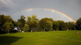 Full rainbow over Fifth St., Ward's Island, Toronto Islands