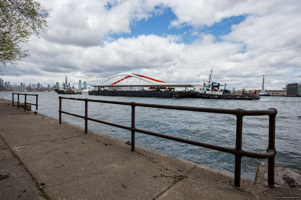 Lois M tows the new Commissioner's St bridge past the old Landing Stage, Eastern Gap, Ward's Island, Toronto Islands