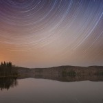 Star trails, Arrowhead Lake, Arrowhead Provincial Park