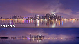 Foggy Toronto skyline panorama, Centre Island, Toronto Islands