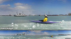 Kayaking during ice-out, Toronto Inner Harbour, Toronto Islands