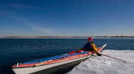 Martin ice kayaking, Toronto inner harbour, Toronto Islands