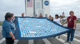 Space shuttle mission badge quilt, Kennedy Space Centre, Florida