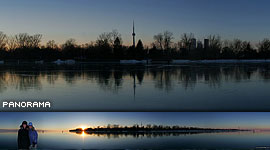 Black ice panorama, Toronto Outer Harbour, Toronto Islands