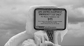Frozen emergency station, Centre Island, Toronto Islands