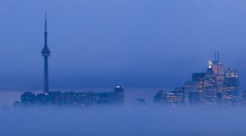 Foggy Toronto skyline panorama, Ward's Island, Toronto Islands