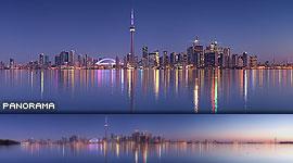 Sunrise twilight panorama of Toronto skyline, Centre Island, Toronto Islands