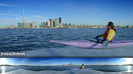 Kayaking on an ice floe, Inner harbour, Toronto Islands