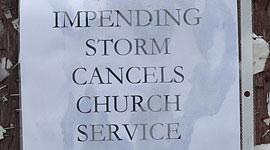 Impending storm cancels church service sign, Algonquin Island, Toronto Islands