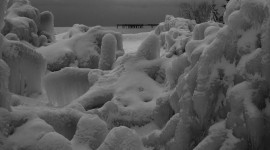 Heavy ice on boardwalk, Centre Island, Toronto Islands