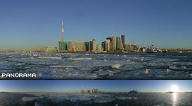 Kayaking in early morning ice, Inner Harbour, Toronto Islands