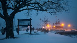 Ferry William Inglis in snow, Wards Island, Toronto Islands