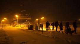 Ferry William Inglis in blizzard at night, Wards Island, Toronto Islands