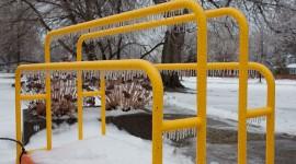 Handcart covered in ice, Ward's Island, Toronto Islands